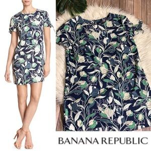BANANA REPUBLIC floral split tie-sleeve shift